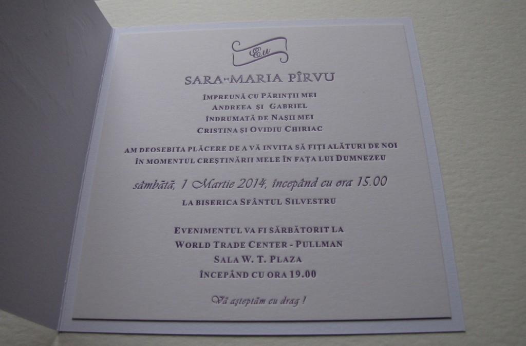 Invitación bautismal Sara