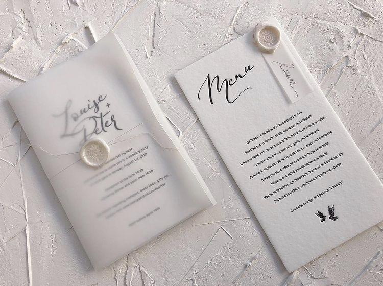 Portrait Luxury Wedding Invitations L&P