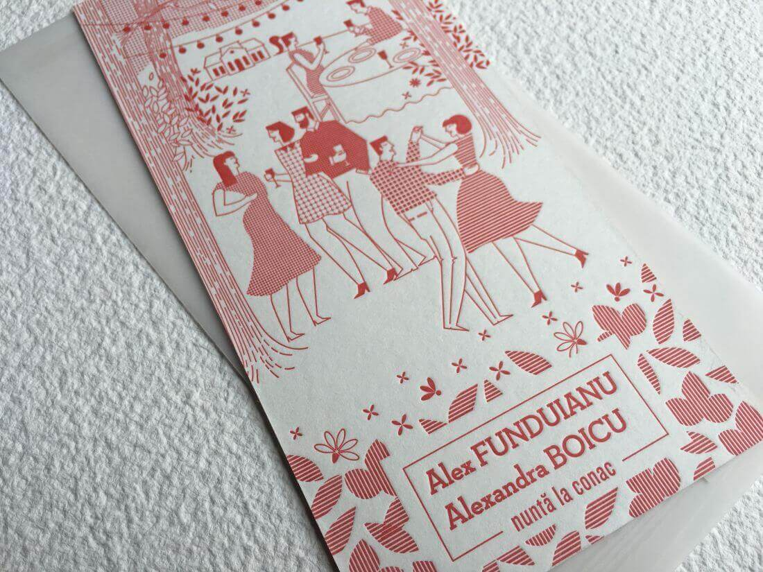 Invitación de boda letterpress Alex & Alexandra