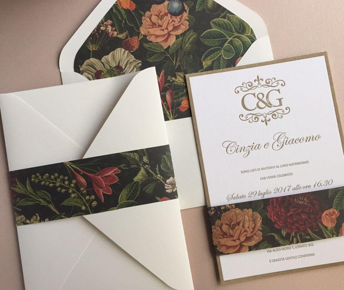 Invitación de boda letterpress bohemian Cinzia & Giacomo