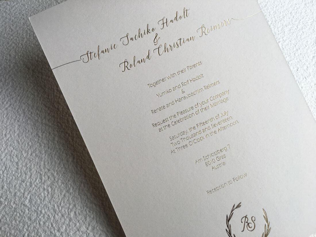 Invitación de boda gold foil Steffi & Roland